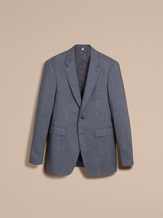 Modern Fit Travel Tailoring Linen Wool Suit in Slate Blue - Men | Burberry - cell image 3