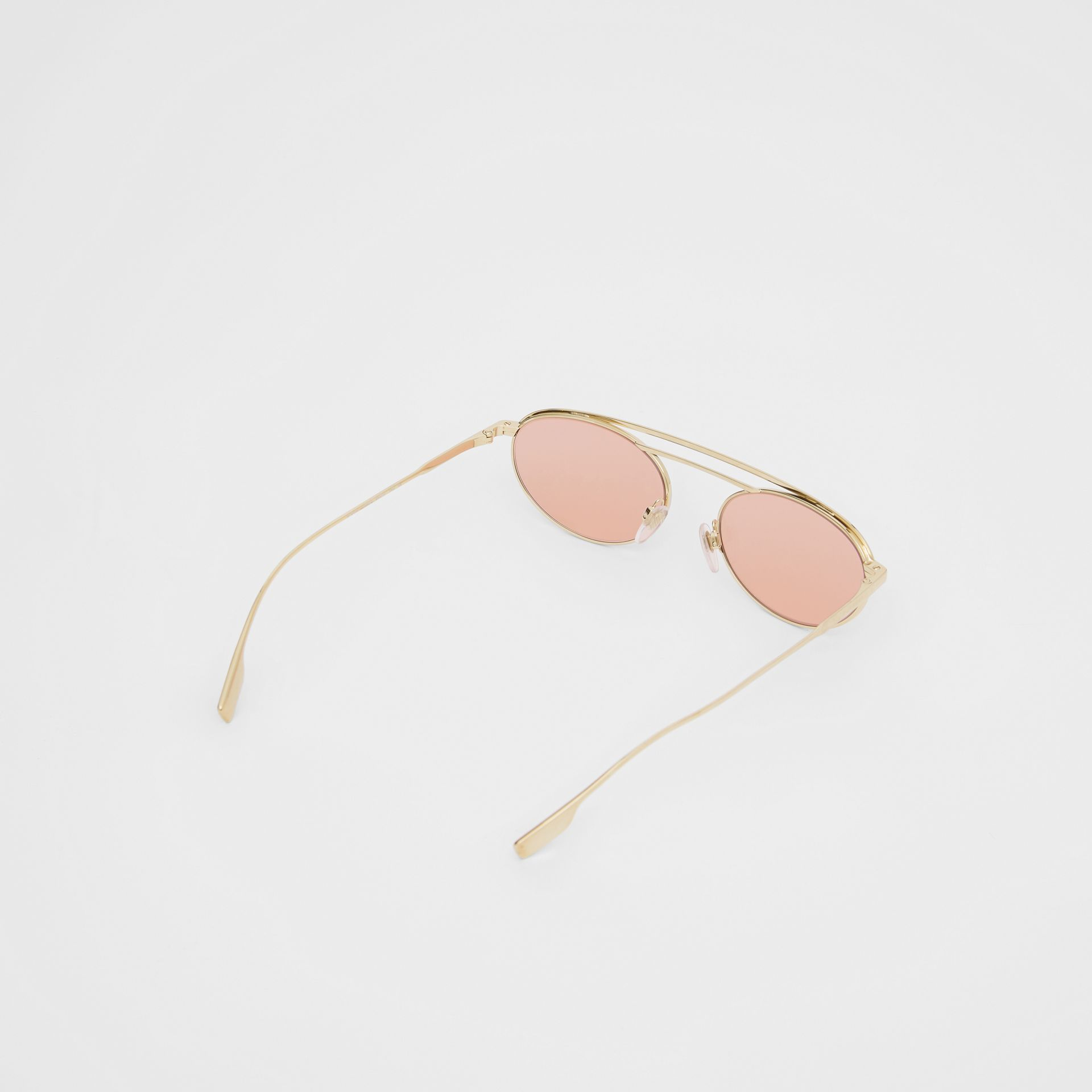 Oval Frame Sunglasses in Light Pink - Women | Burberry - gallery image 4