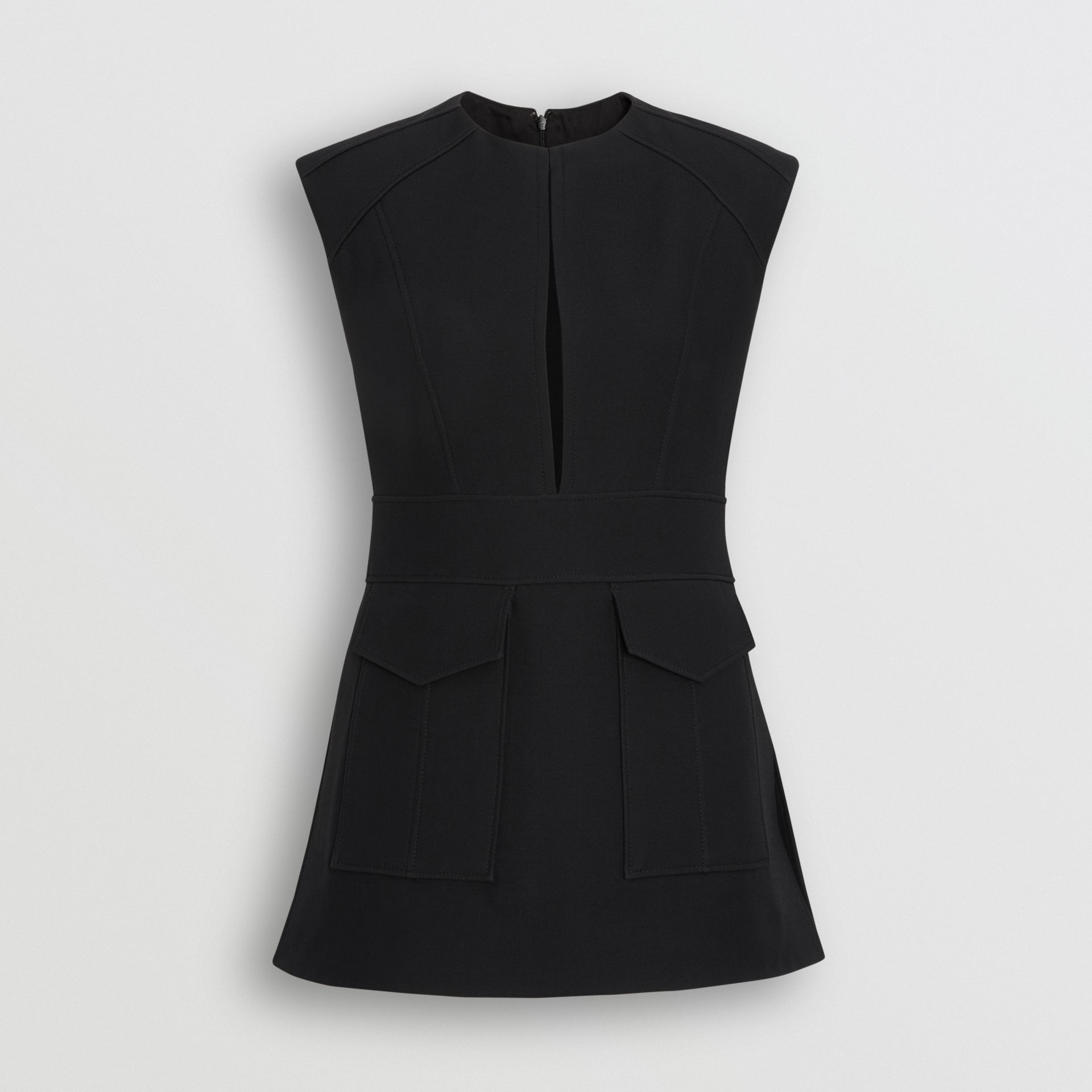 Keyhole Detail Sleeveless Wool Silk Top in Black - Women | Burberry - gallery image 3
