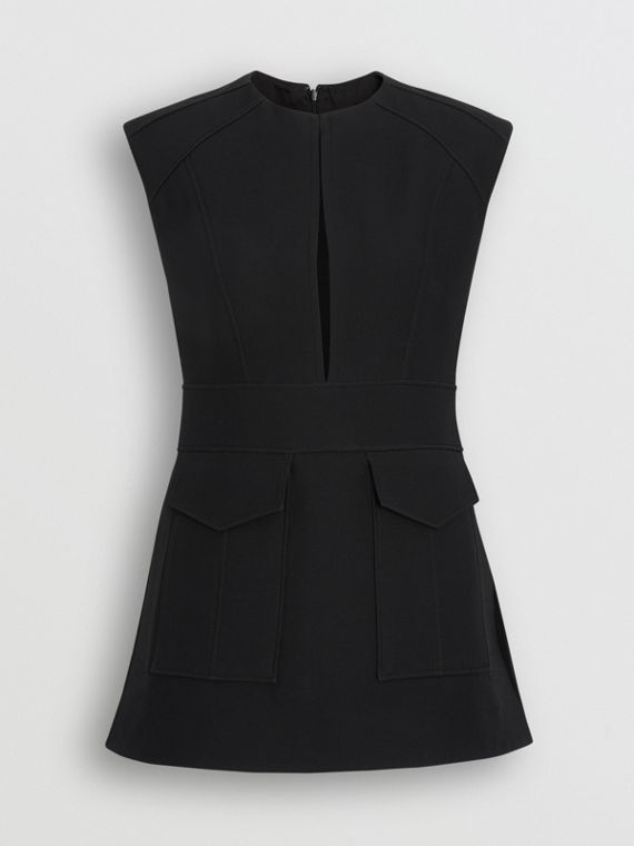 Keyhole Detail Sleeveless Wool Silk Top in Black