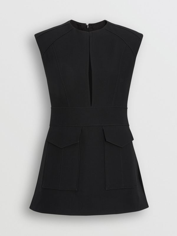 Keyhole Detail Sleeveless Wool Silk Top in Black - Women | Burberry - cell image 3