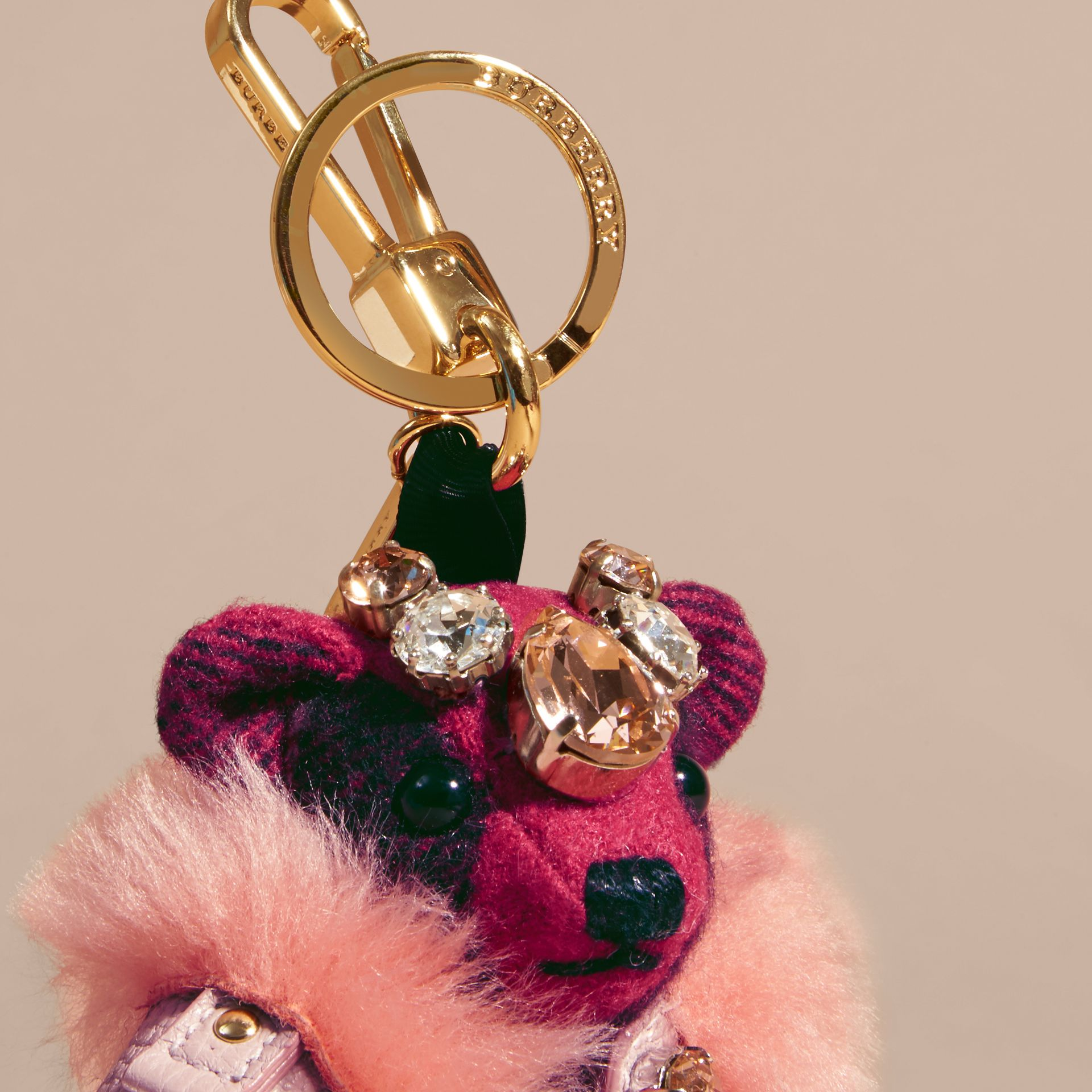 Fuchsia pink Thomas Bear Charm with Cape and Crystals Fuchsia Pink - gallery image 2