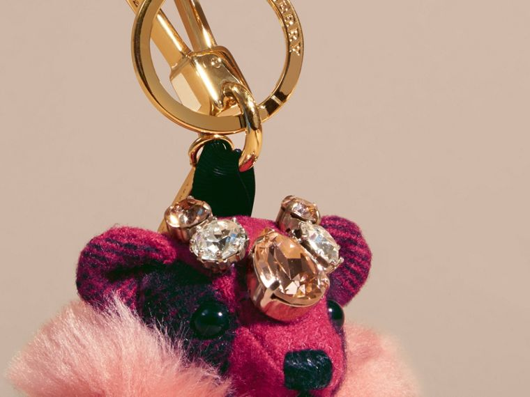 Thomas Bear Charm with Cape and Crystals in Fuchsia Pink - cell image 1