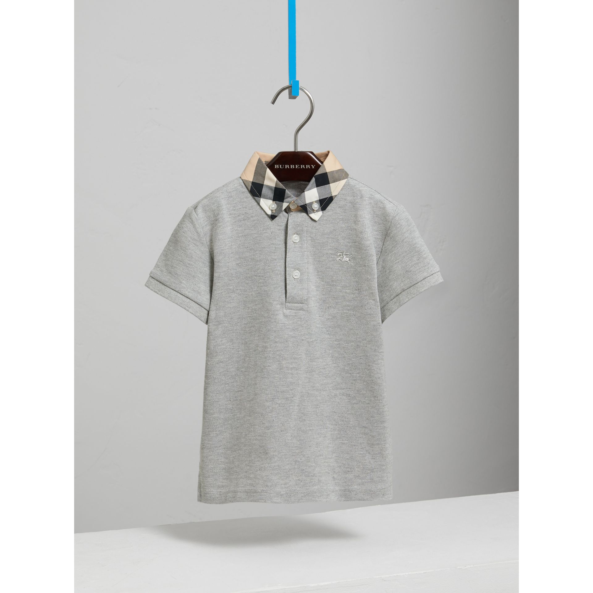 Check Collar Polo Shirt in Pale Grey Melange - Boy | Burberry United Kingdom - gallery image 2