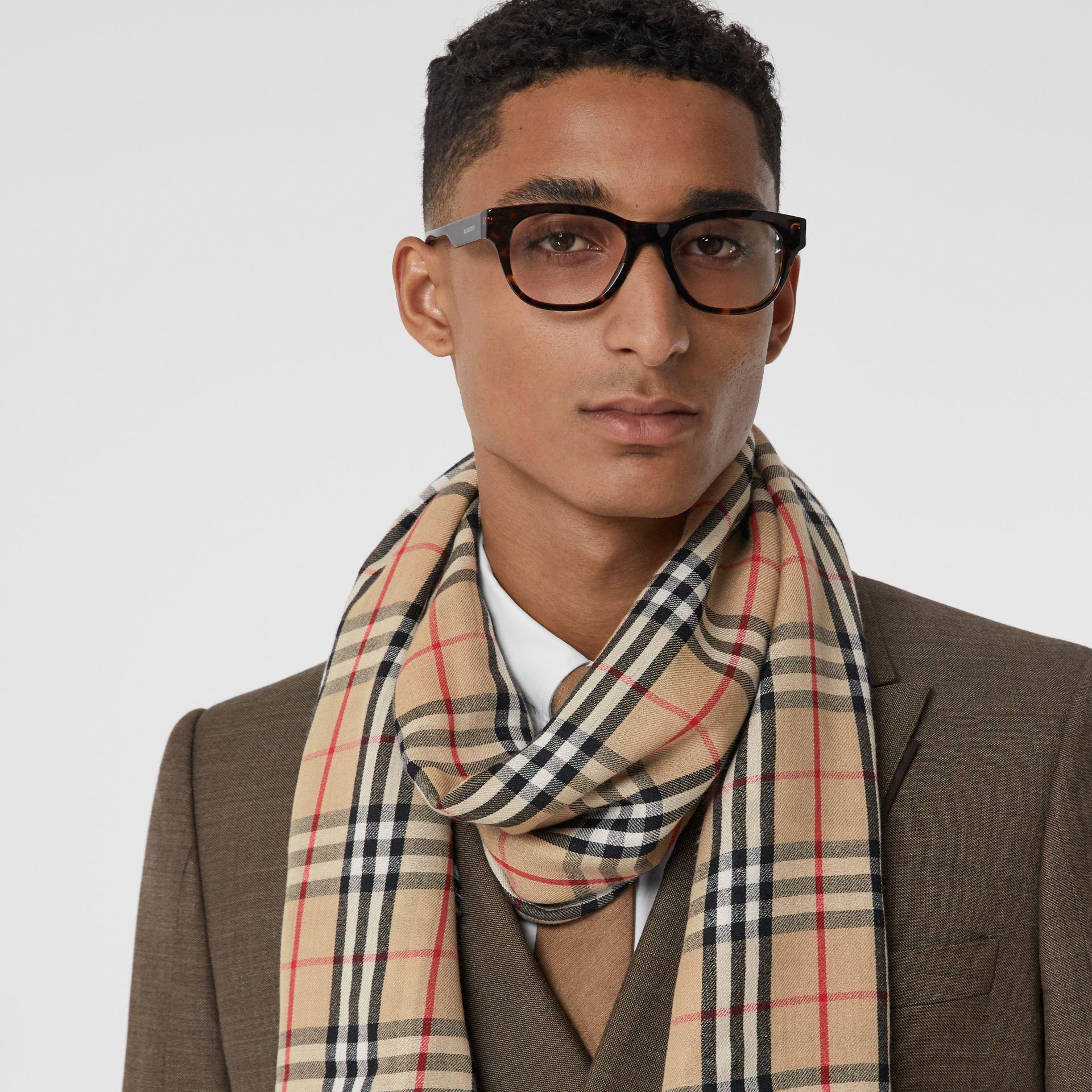 Vintage Check Lightweight Cashmere Scarf in Archive Beige | Burberry Australia - gallery image 2
