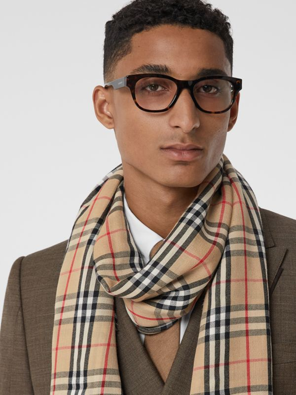 Vintage Check Lightweight Cashmere Scarf in Archive Beige | Burberry United Kingdom - cell image 2