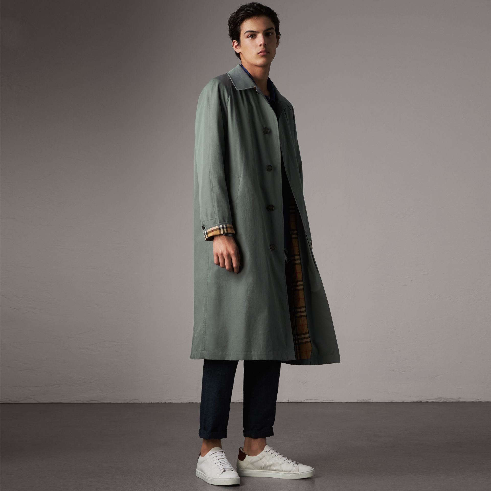 The Brighton – Extra-long Car Coat – Online Exclusive in Dusty Blue - Men | Burberry - gallery image 0
