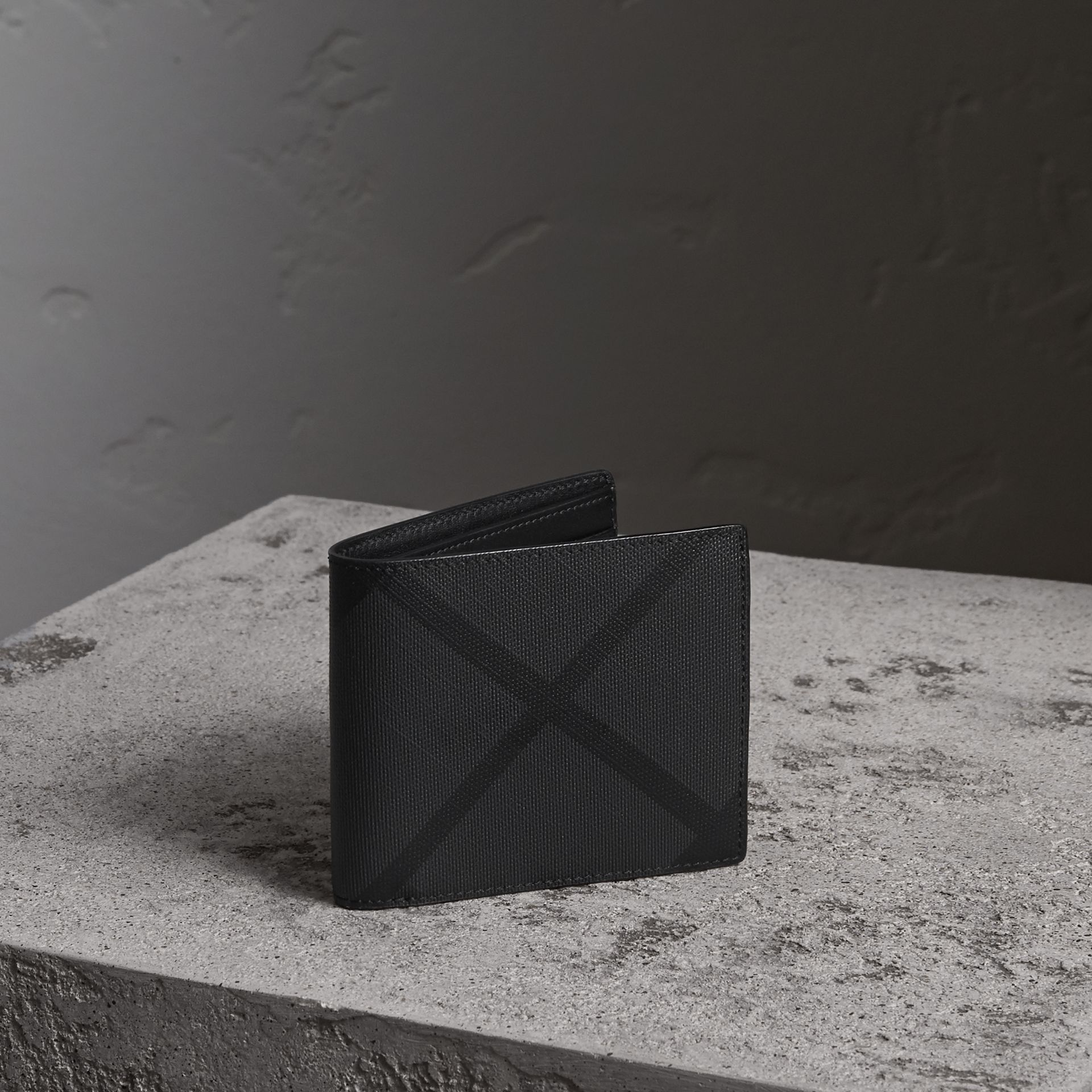 London Check Folding Wallet in Charcoal/black - Men | Burberry - gallery image 0