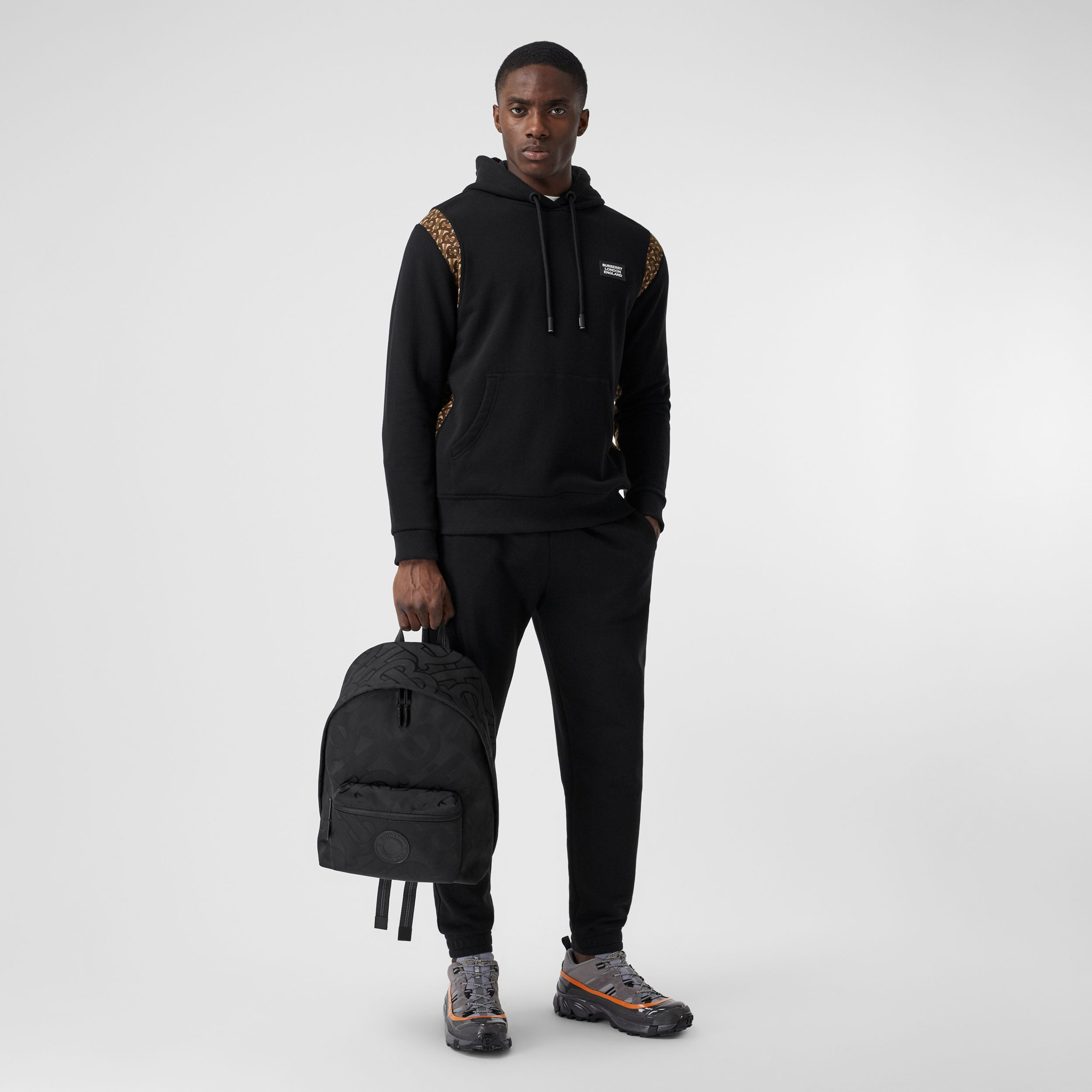 Monogram Print Panel Cotton Hoodie in Black - Men | Burberry - 4