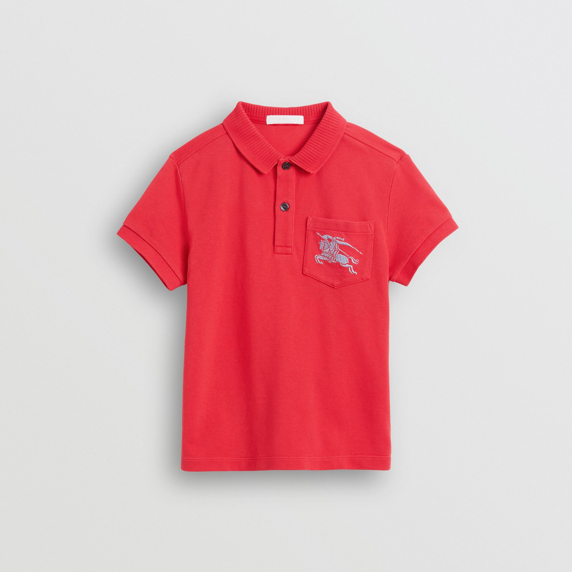 EKD Logo Cotton Piqué Polo Shirt in Bright Red | Burberry - gallery image 0