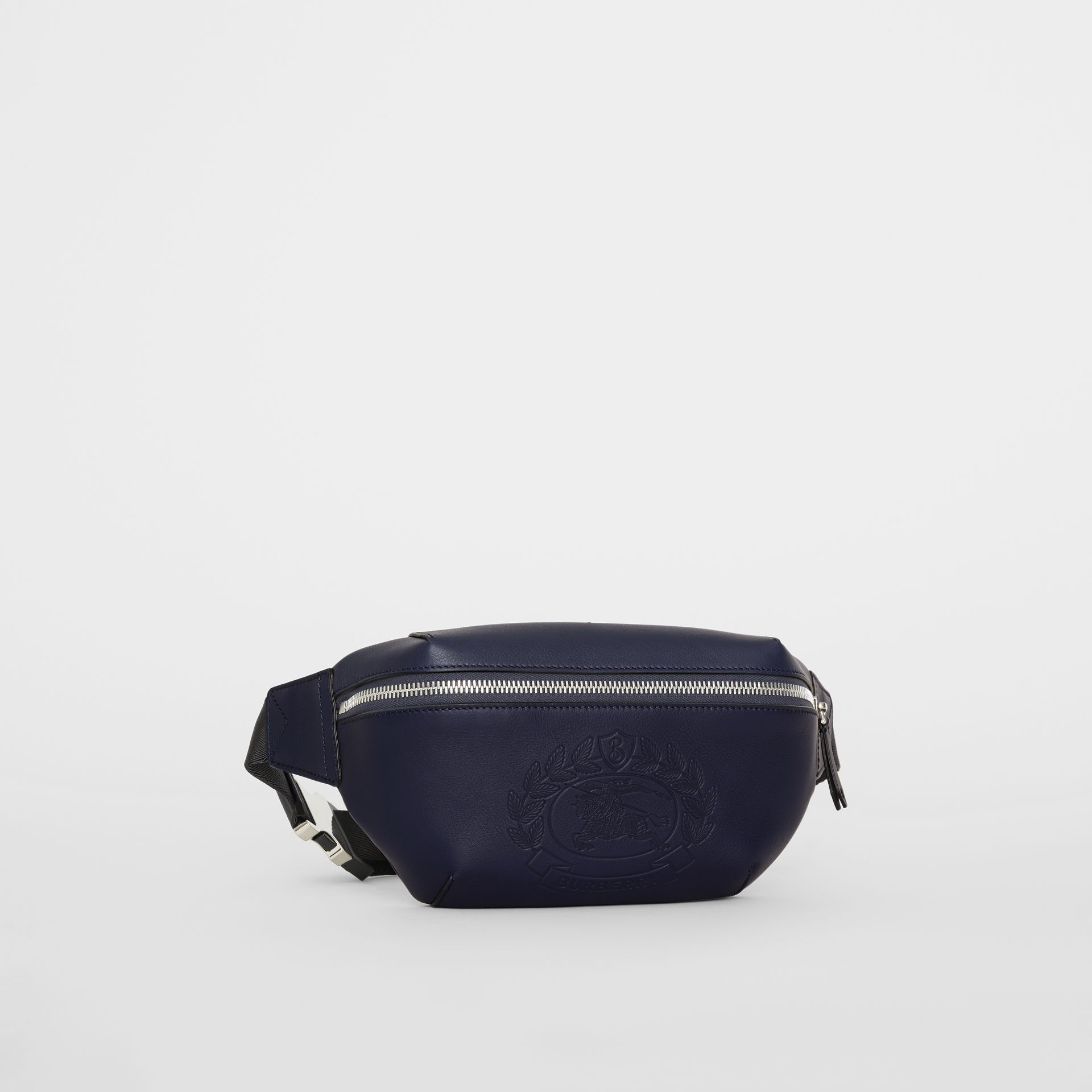 Medium Embossed Crest Leather Bum Bag in Regency Blue | Burberry Australia - gallery image 6