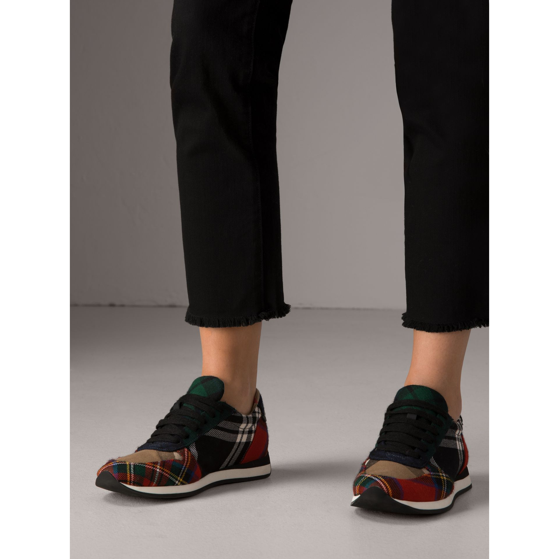 Tartan Wool Sneakers in Black/bright Red - Women | Burberry - gallery image 2