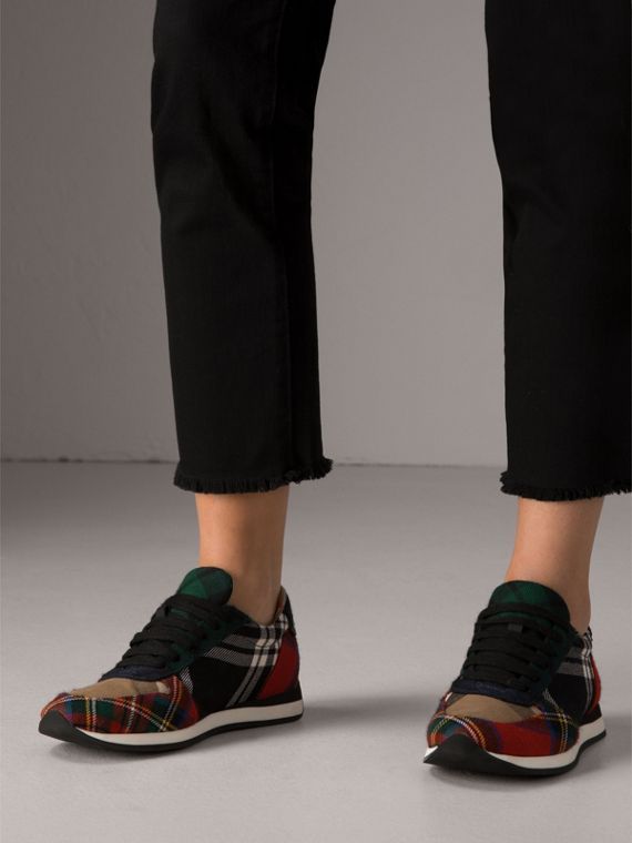 Tartan Wool Trainers in Black/bright Red - Women | Burberry Canada - cell image 2