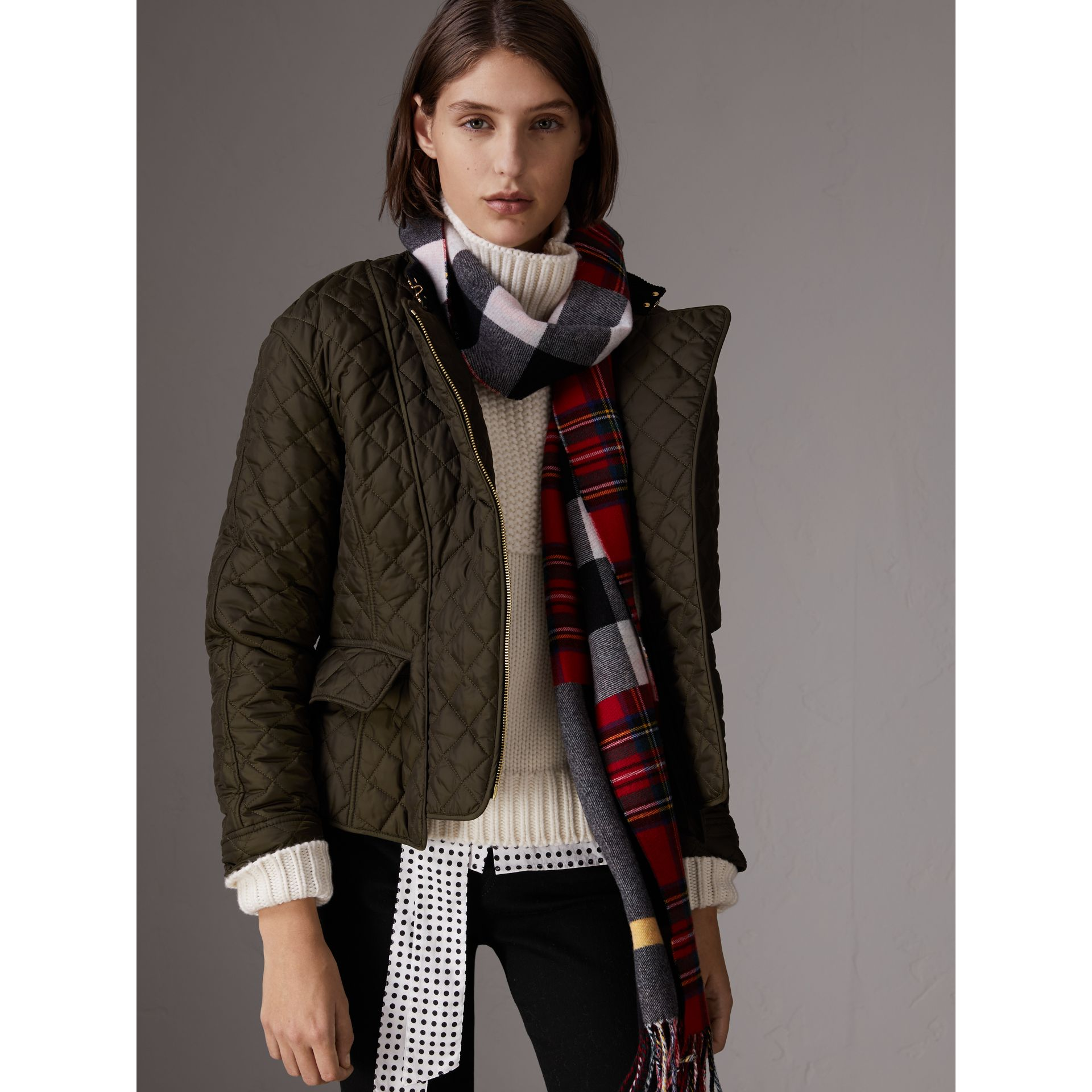 Diamond Quilted Jacket in Dark Olive - Women | Burberry - gallery image 4