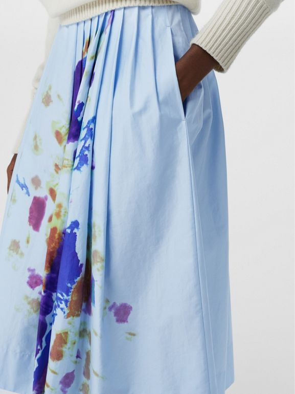 Rainbow Print Cotton Sateen Skirt in Light Blue - Women | Burberry Singapore - cell image 1