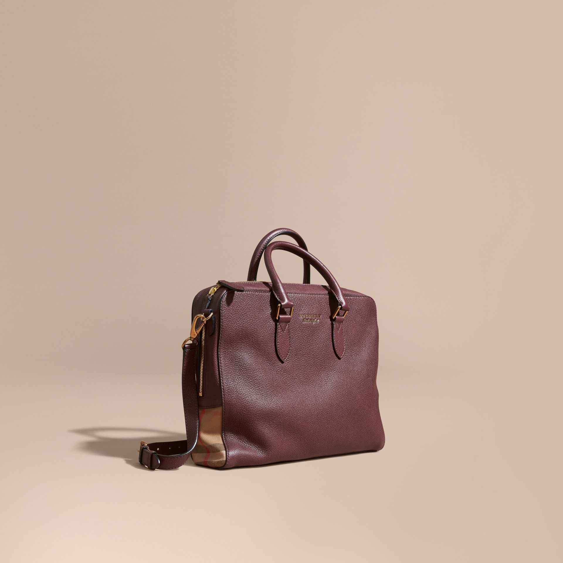 Wine Leather and House Check Briefcase Wine - gallery image 1