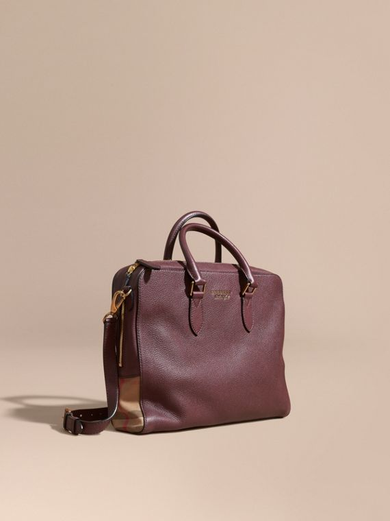 Leather and House Check Briefcase in Wine - Men | Burberry