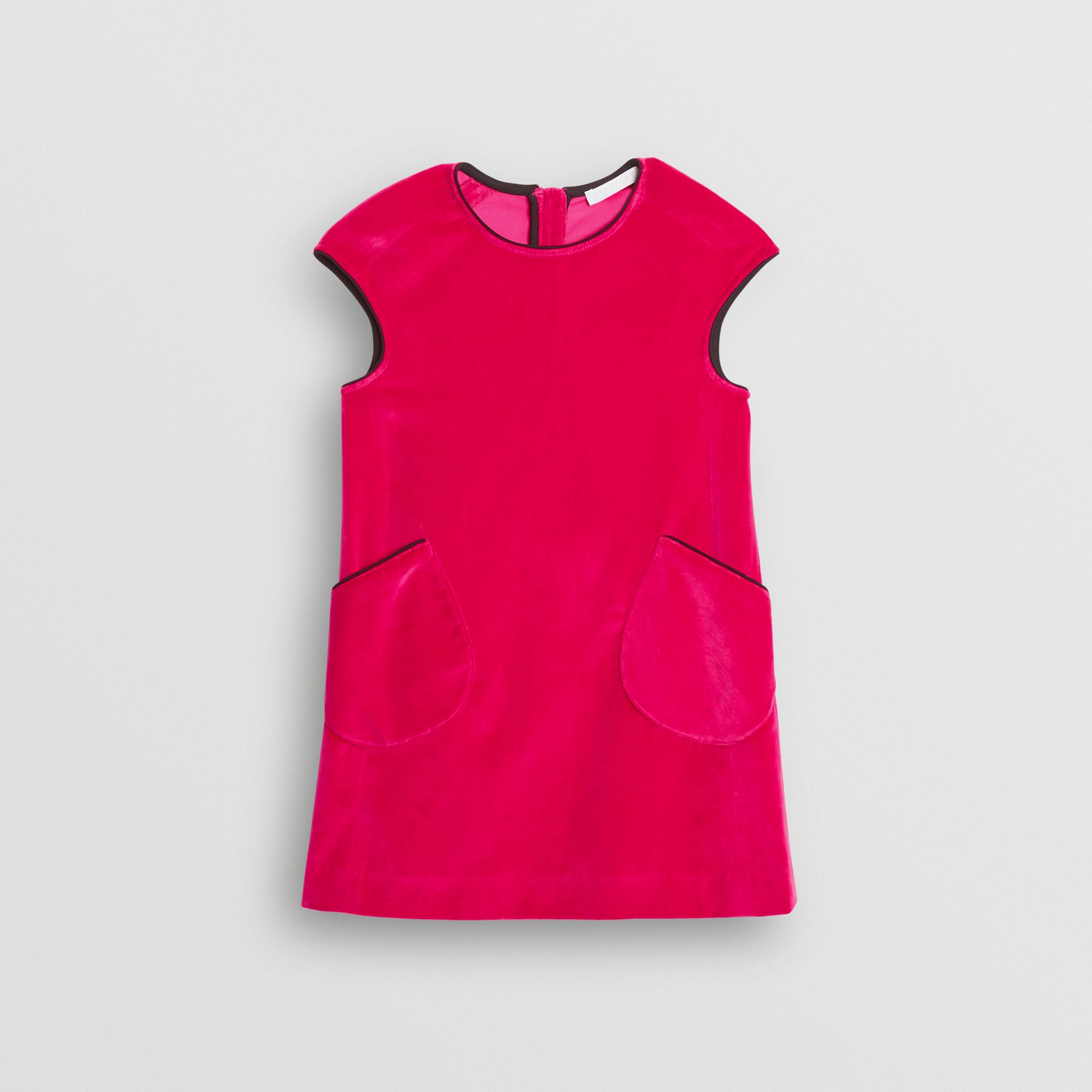 Piping Detail Velvet Shift Dress in Raspberry | Burberry - gallery image 0