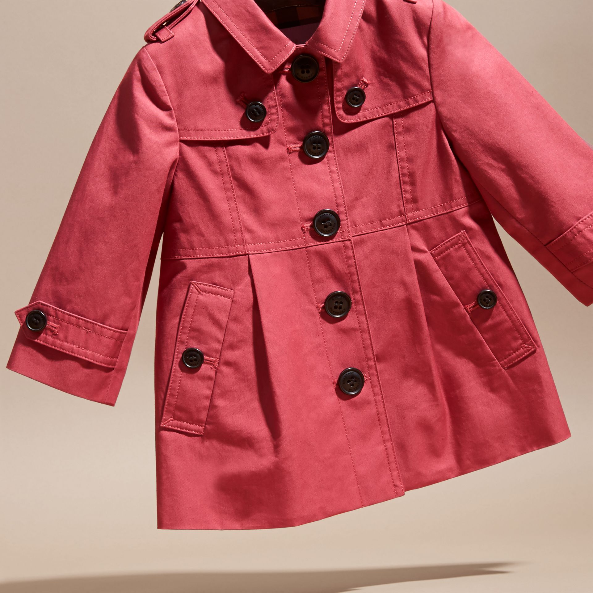 Peony rose Cotton Trench Coat - gallery image 3