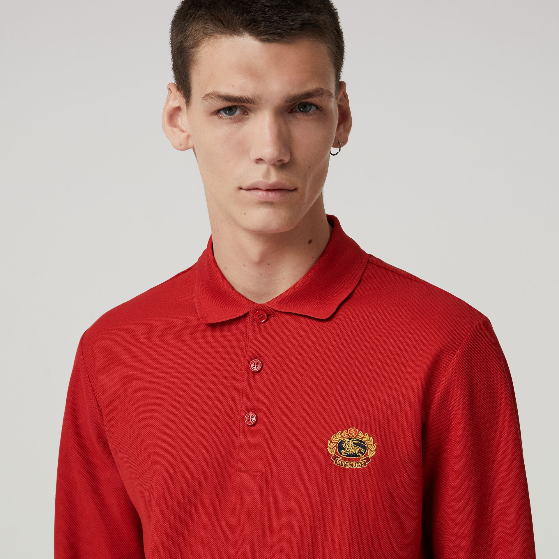 Long-sleeve Archive Logo Cotton Piqué Polo Shirt in Poppy Red - Men | Burberry - gallery image 1