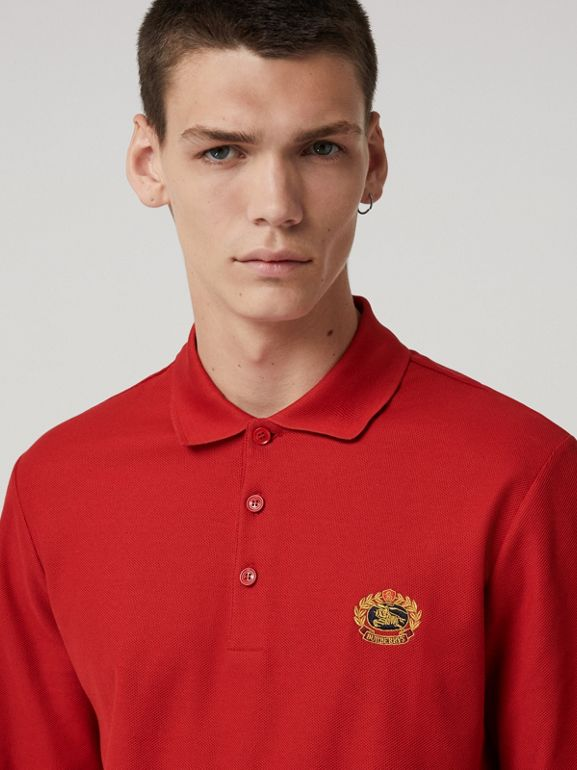 Long-sleeve Archive Logo Cotton Piqué Polo Shirt in Poppy Red - Men | Burberry - cell image 1