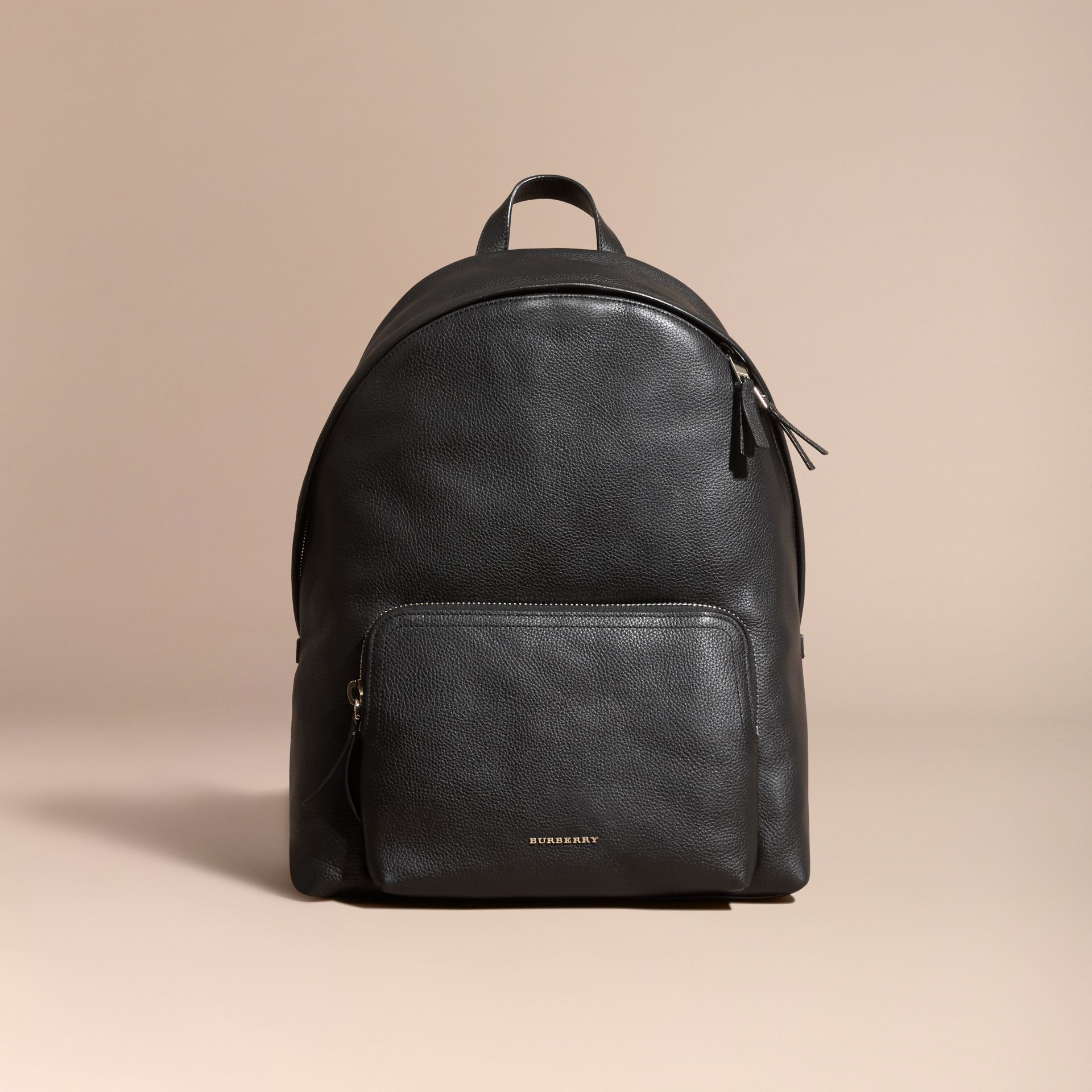 Black Grainy Leather Backpack - gallery image 8