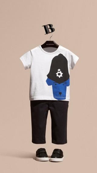 Police Dog Motif Cotton T-shirt
