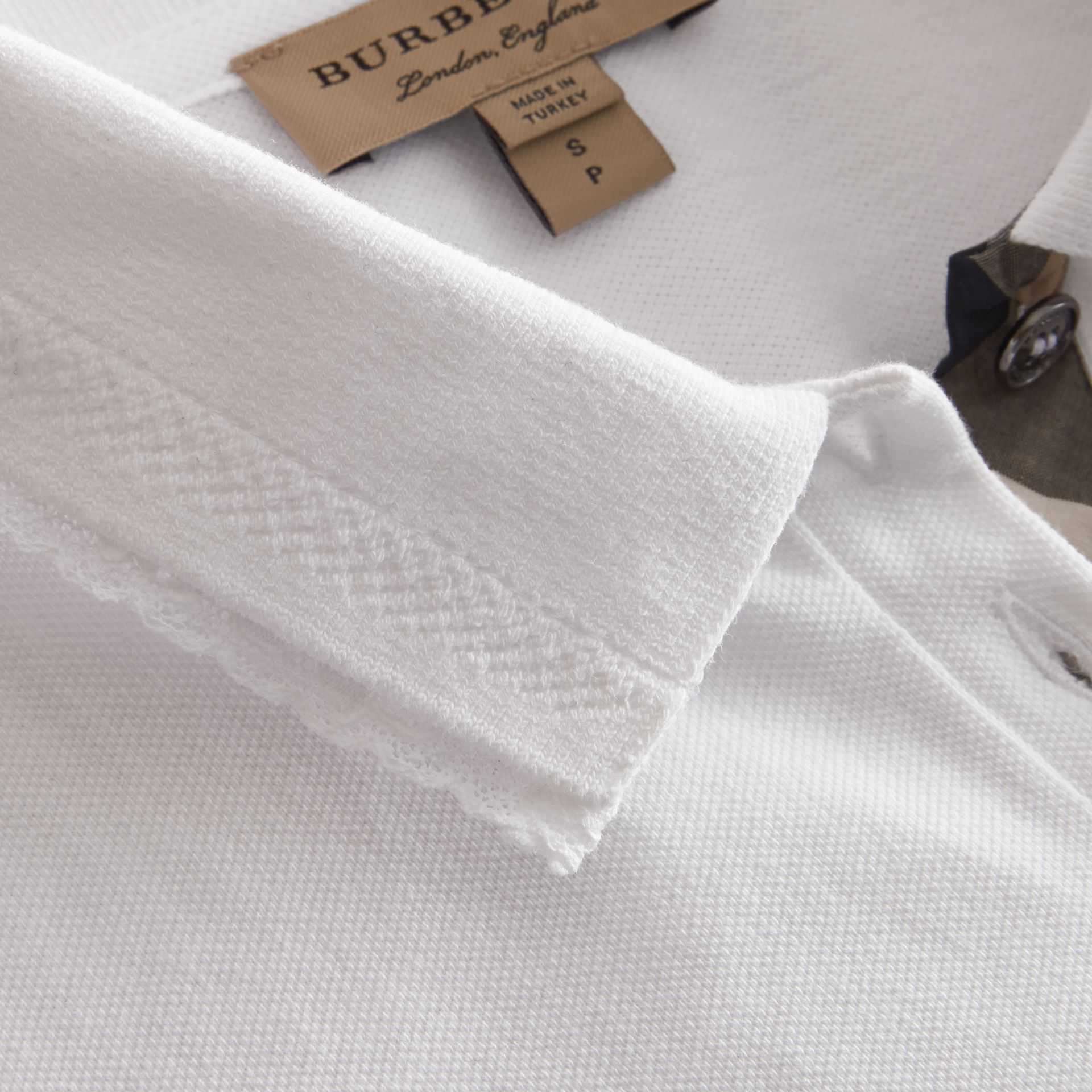 Lace Trim Cotton Blend Polo Shirt with Check Detail in White - Women | Burberry - gallery image 2