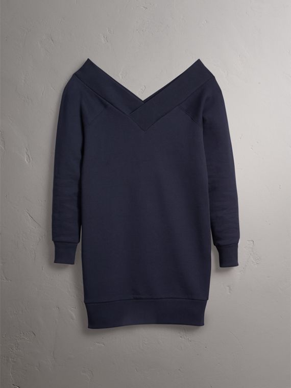 Cotton Blend V-neck Sweater Dress in Navy - Women | Burberry - cell image 3