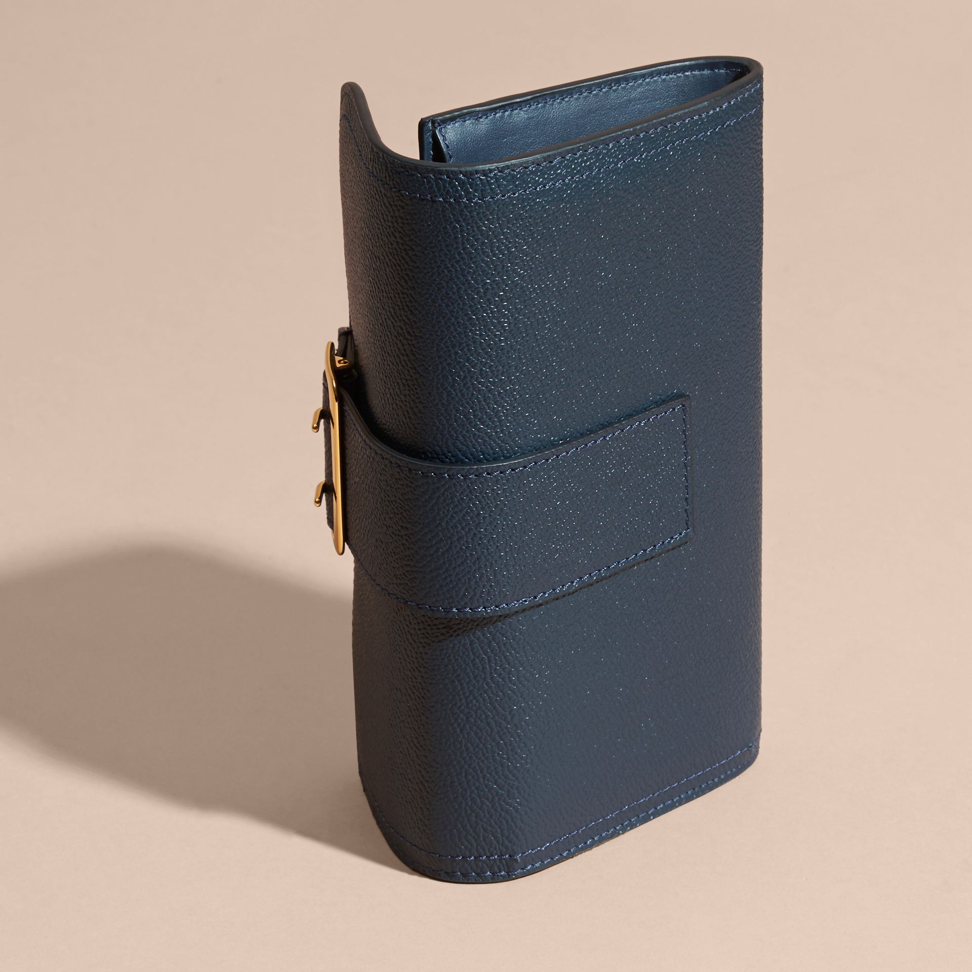 Textured Leather Continental Wallet Blue Carbon - gallery image 3