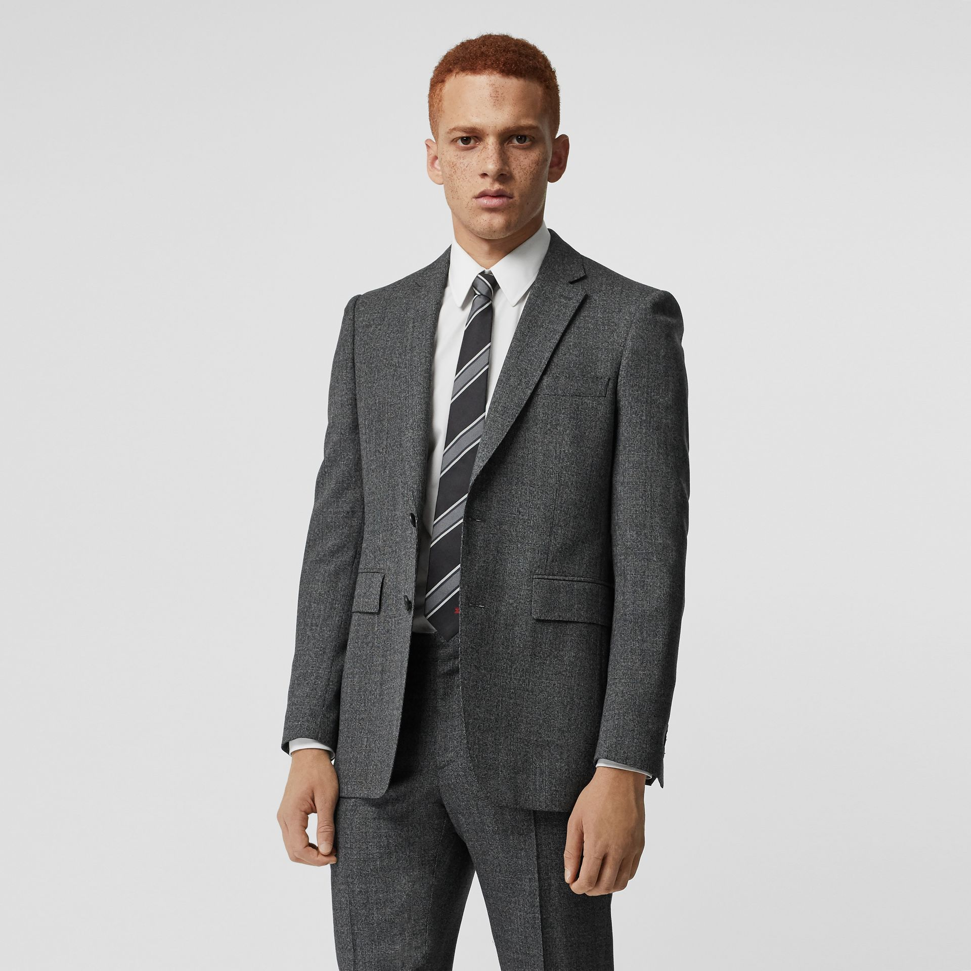 Classic Fit Melange Wool Three-piece Suit in Charcoal - Men | Burberry - gallery image 6