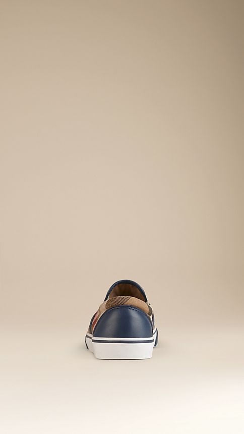 Navy House Check Cotton Slip-On Trainers Navy - Image 2