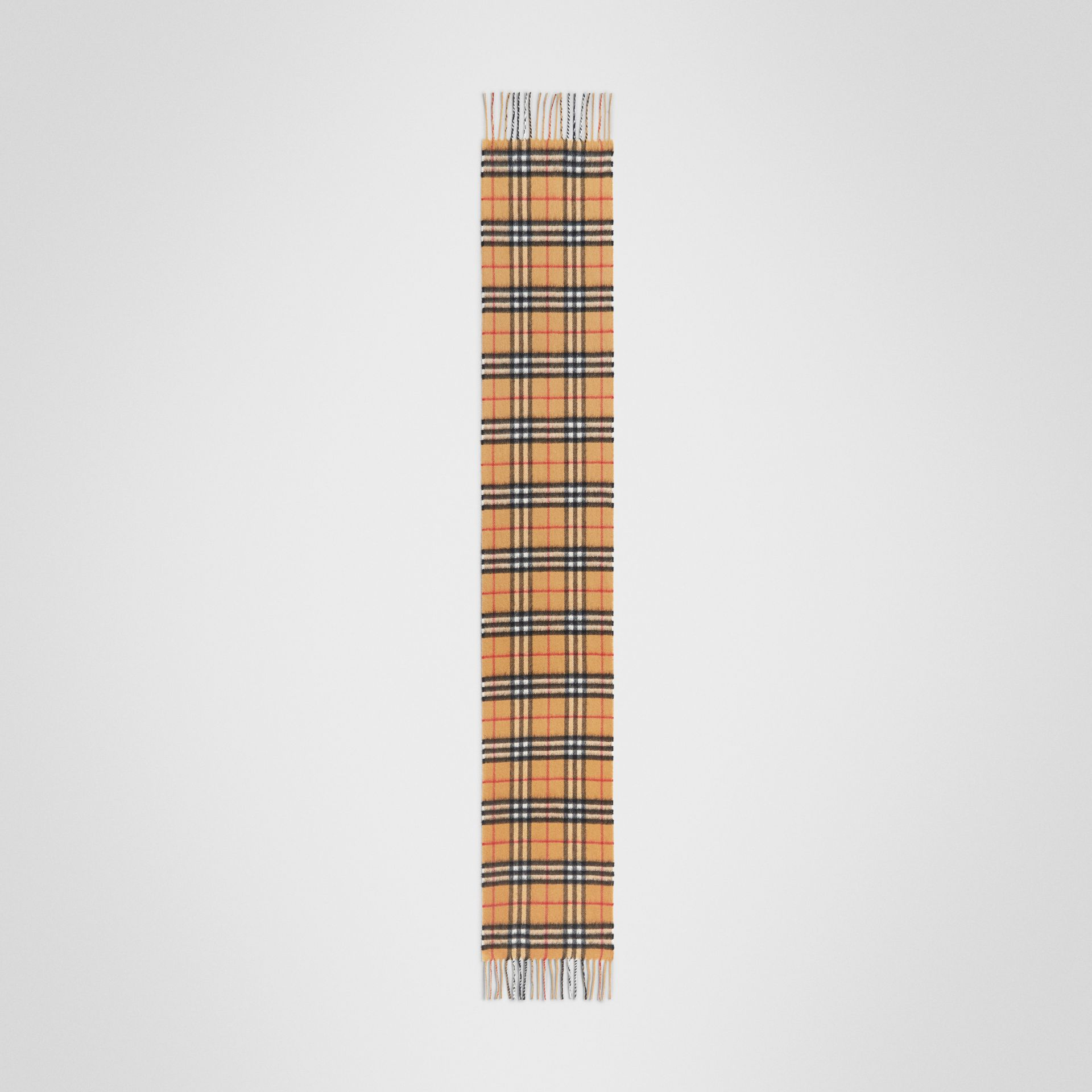 The Mini Classic Vintage Check Cashmere Scarf in Antique Yellow - Children | Burberry - gallery image 2