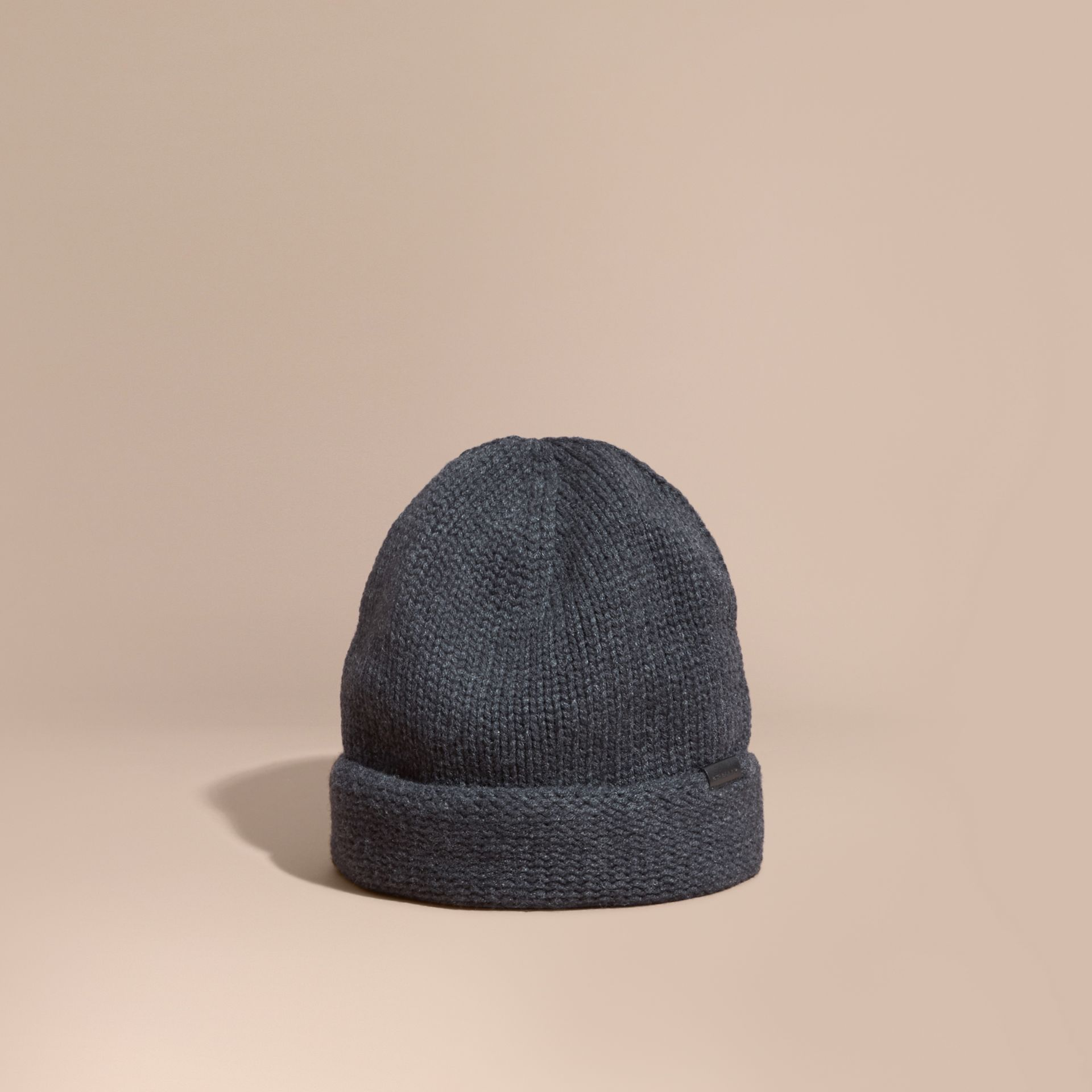 Charcoal Knitted Cashmere Beanie - gallery image 1