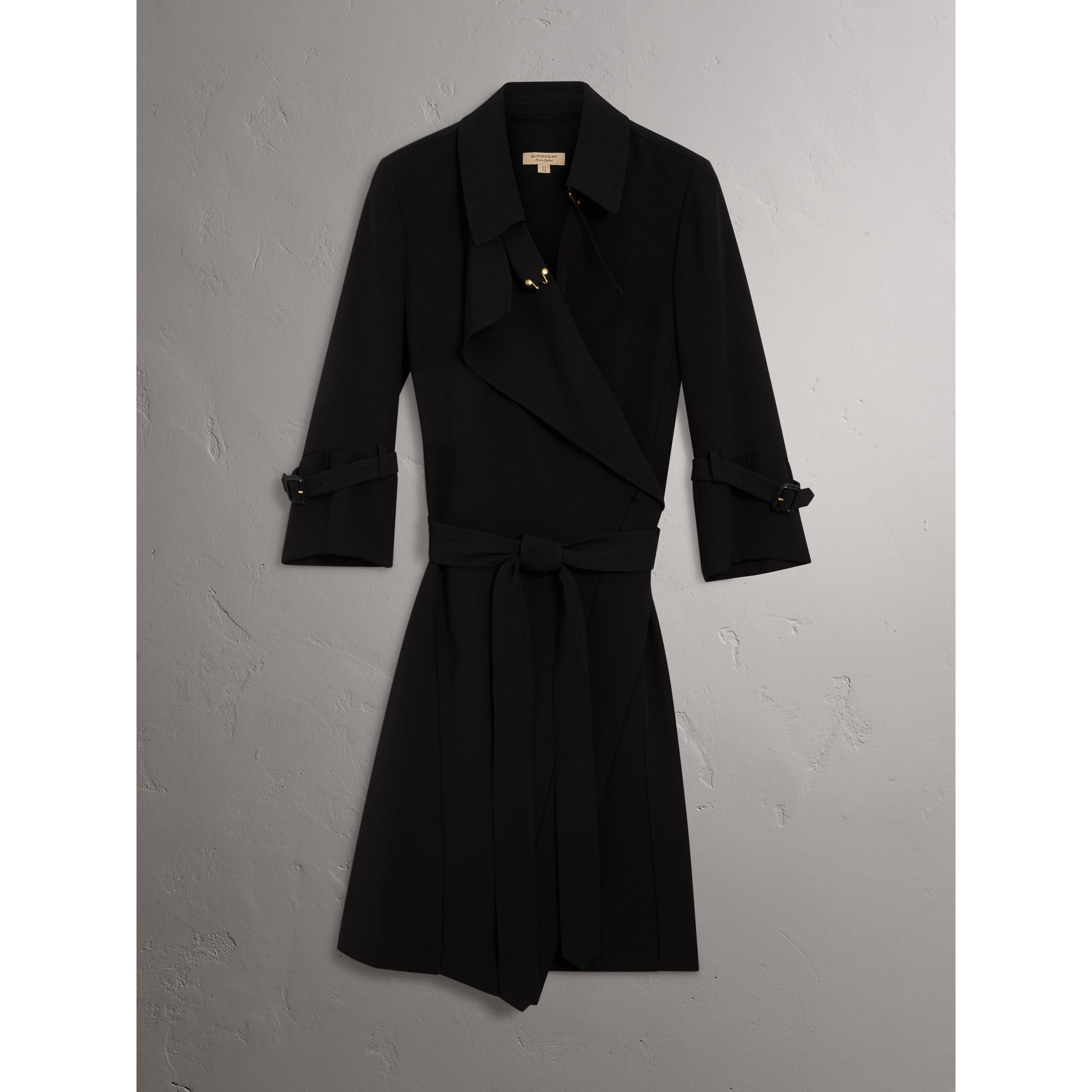 Silk Georgette Trench Wrap Dress in Black - Women | Burberry - gallery image 3