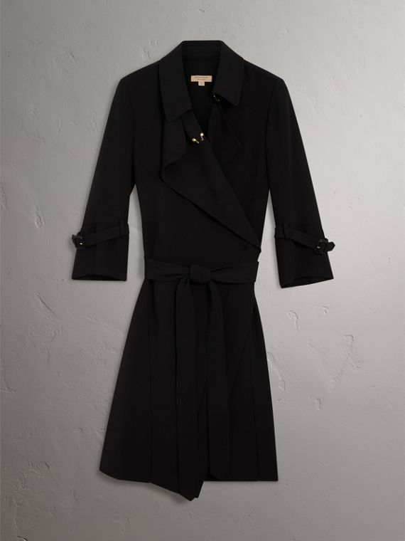 Silk Georgette Trench Wrap Dress in Black - Women | Burberry - cell image 3