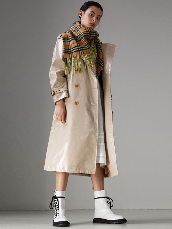 Raglan-sleeve Laminated Gabardine Trench Coat in Stone