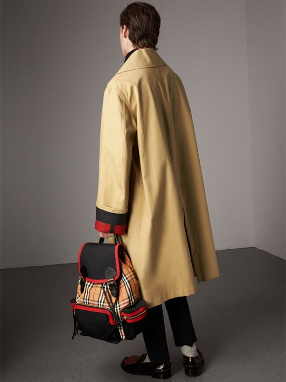 The Large Rucksack in Vintage Check and Leather in Antique Yellow | Burberry Canada - cell image 2