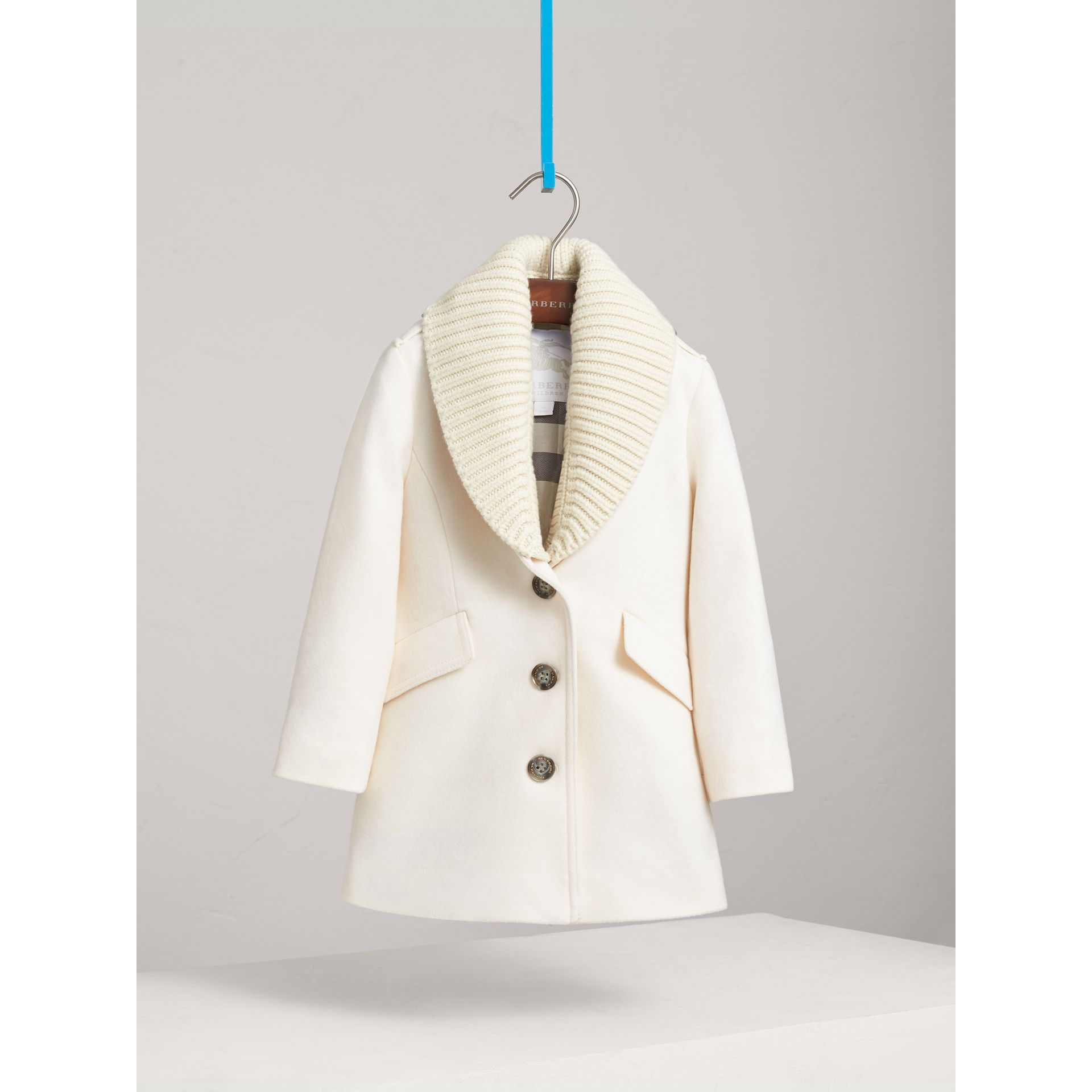 Detachable Rib Knit Collar Tailored Cashmere Coat in Natural White - Girl | Burberry - gallery image 3
