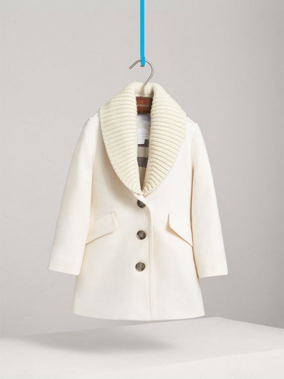 Detachable Rib Knit Collar Tailored Cashmere Coat in Natural White