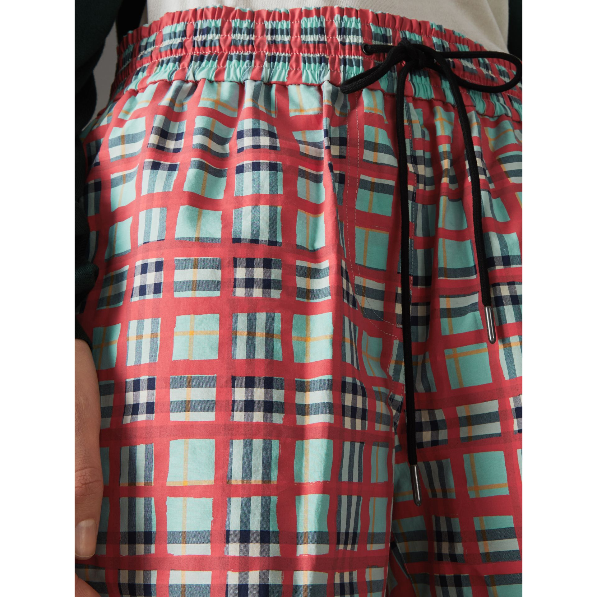 Painted Check Cotton Drawcord Shorts in Bright Aqua - Women | Burberry United States - gallery image 1