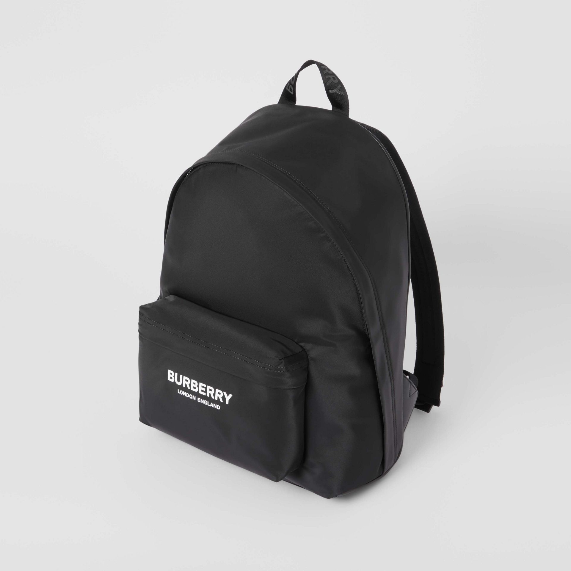 Logo Print Nylon Backpack in Black | Burberry - gallery image 3