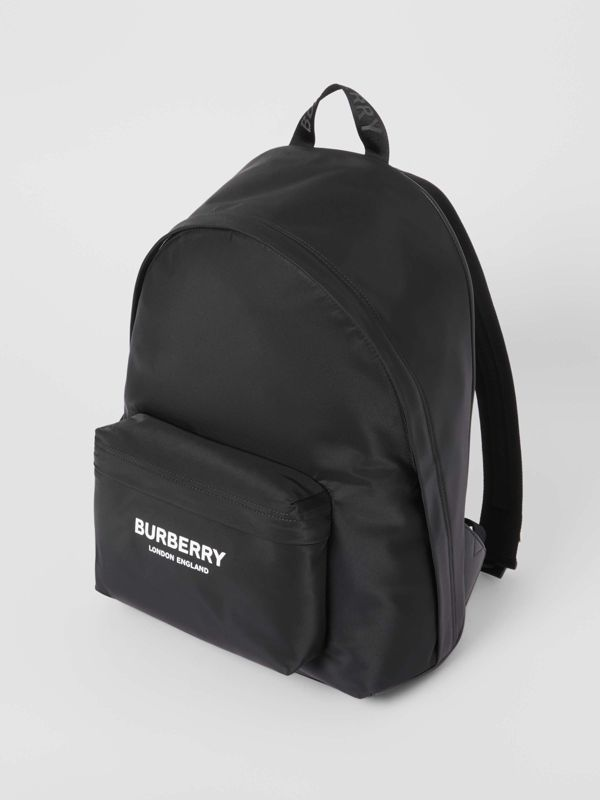 Logo Print Nylon Backpack in Black | Burberry - cell image 3