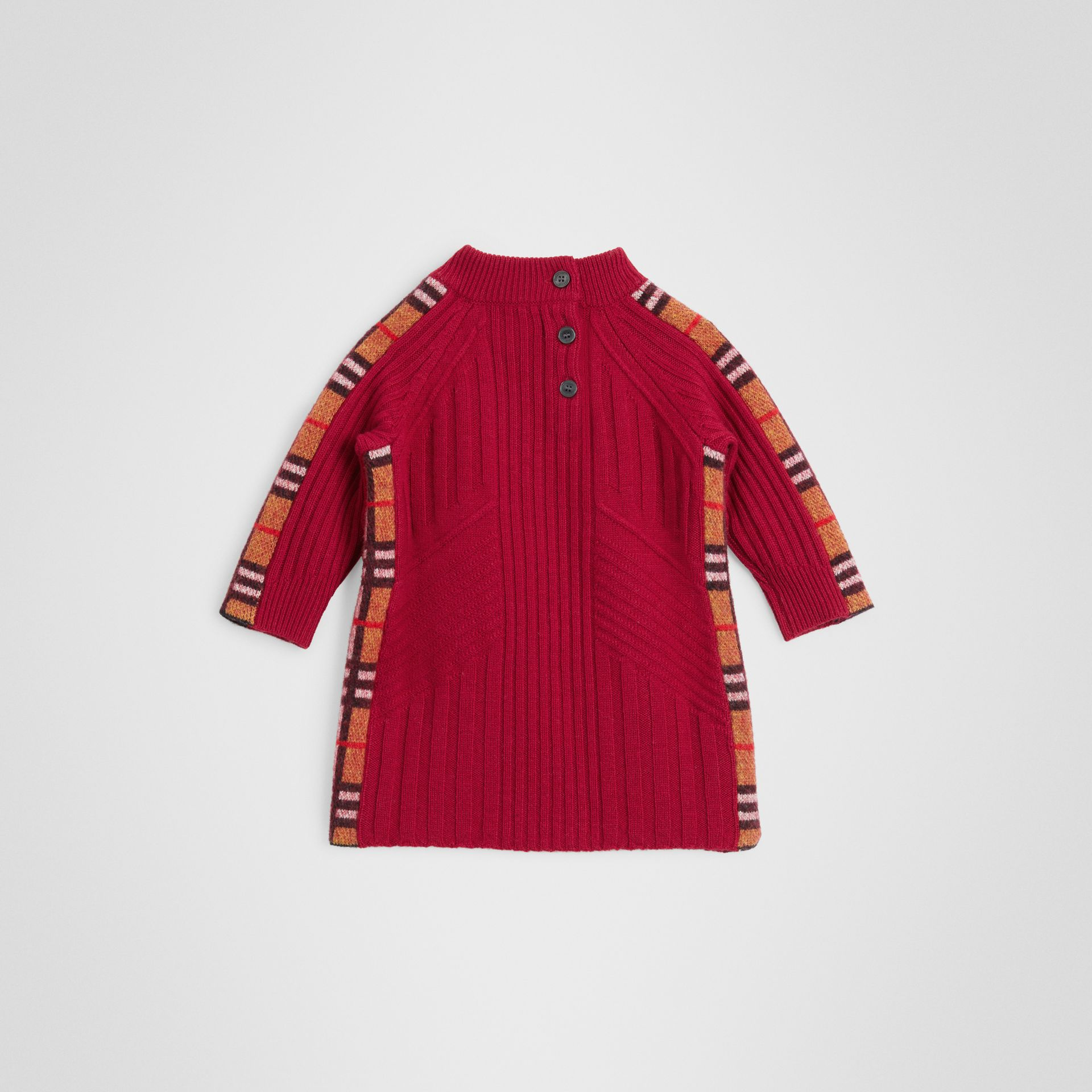 Check Detail Wool Cashmere Dress in Burgundy Red - Children | Burberry United Kingdom - gallery image 3