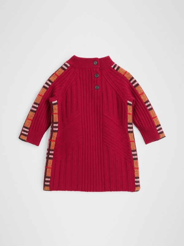 Check Detail Wool Cashmere Dress in Burgundy Red - Children | Burberry - cell image 3