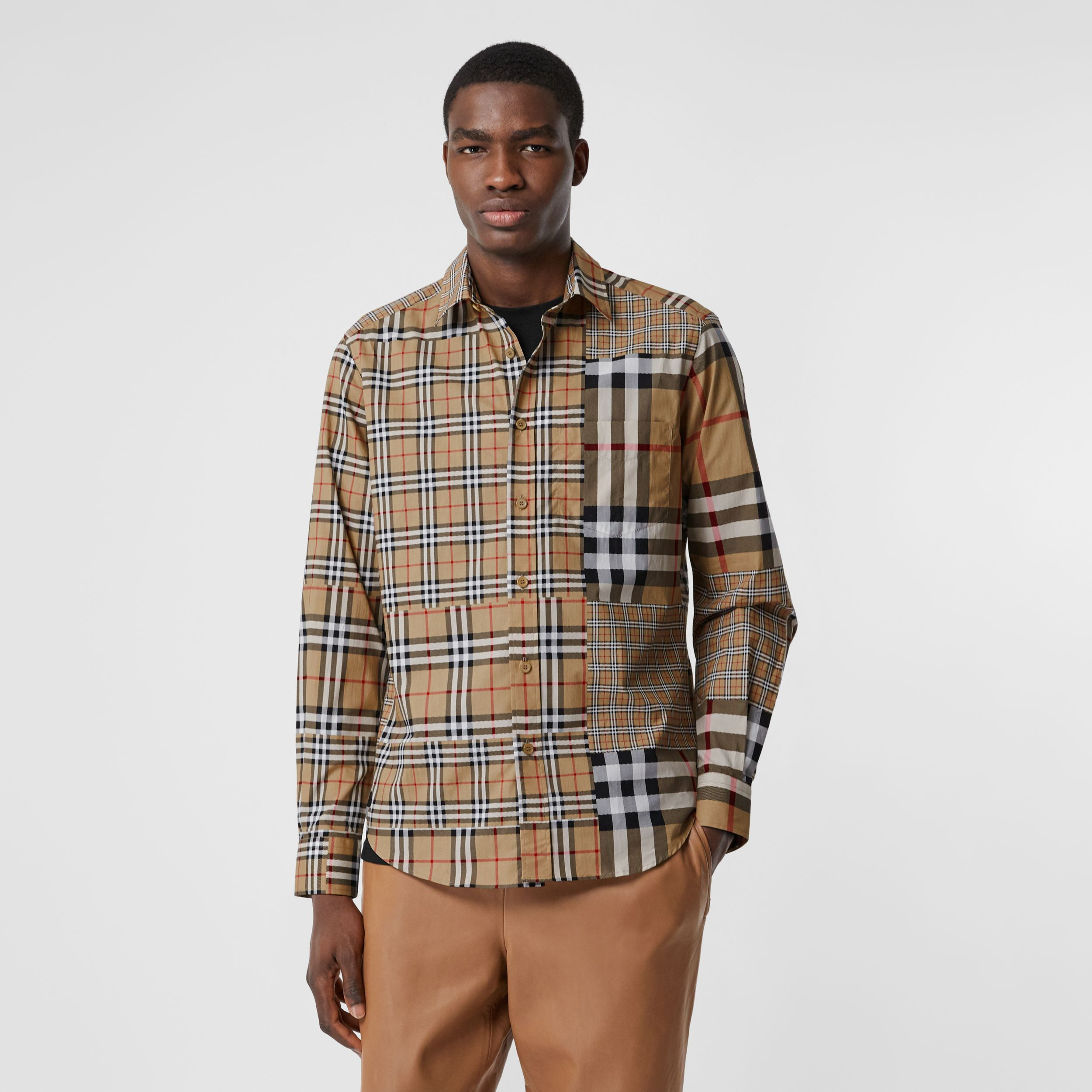 Classic Fit Patchwork Check Cotton Shirt in Archive Beige | Burberry United States - 1