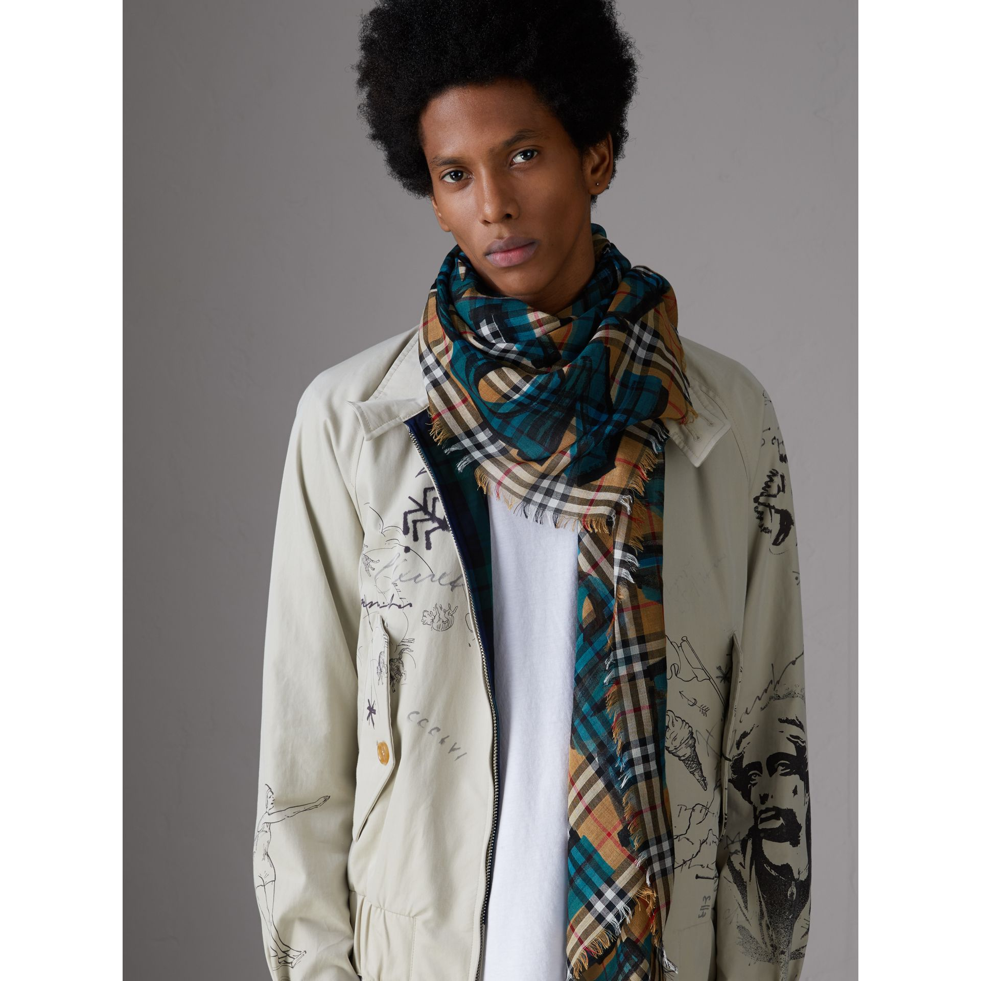 Graffiti Print Check Wool Silk Large Square Scarf in Brilliant Blue | Burberry - gallery image 3