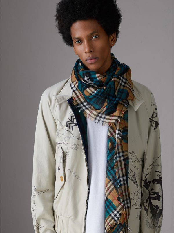 Graffiti Print Check Wool Silk Large Square Scarf in Brilliant Blue | Burberry - cell image 3