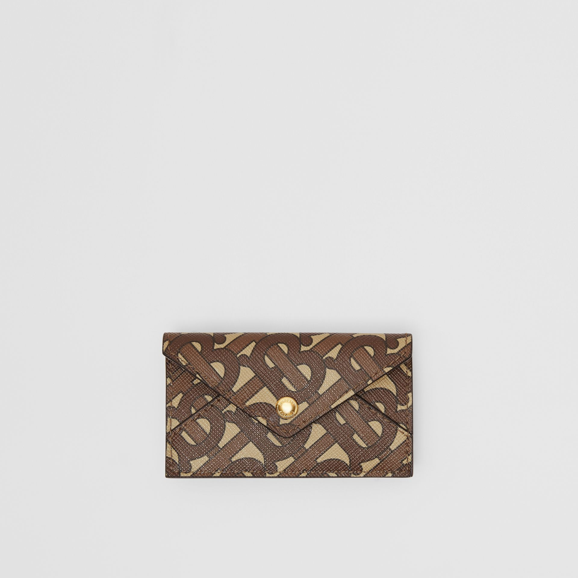 Belted Monogram E-canvas TB Envelope Clutch in Bridle Brown - Women | Burberry - gallery image 7