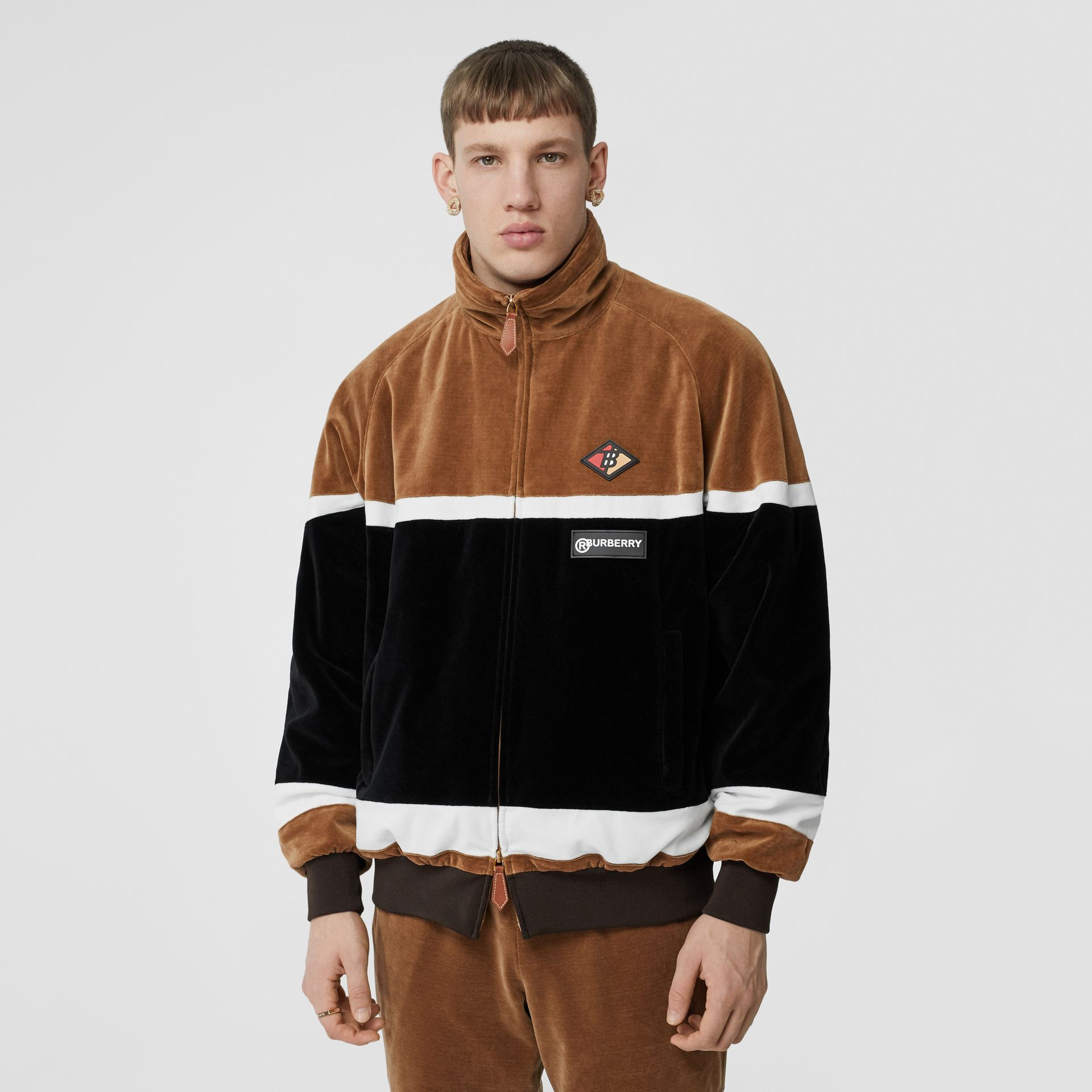 Logo Graphic Striped Chenille Track Top in Dark Walnut - Men | Burberry - gallery image 1